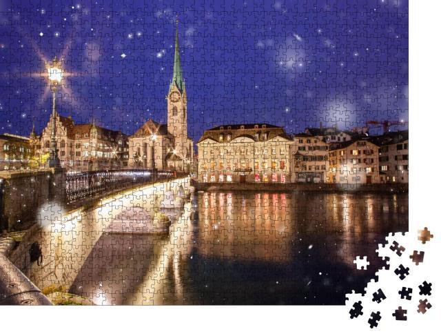 """Puzzle 1000 Teile """"Schneegestöber im Stadtzentrum von Zürich"""""""
