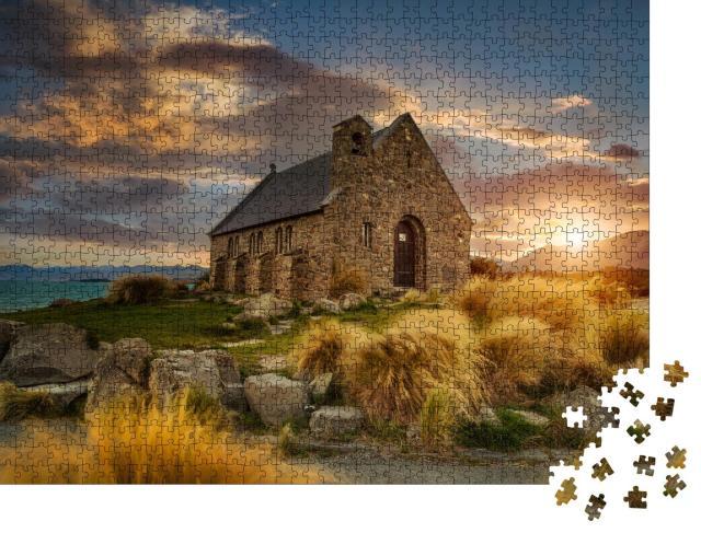 """Puzzle 1000 Teile """"Naturschauspiel an der Church of good Shepherd, Neuseeland"""""""