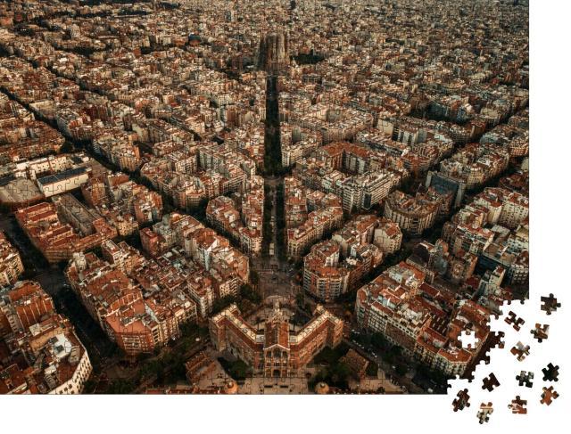 """Puzzle 1000 Teile """"Luftaufnahme von Barcelona: Straßen der Stadt, Spanien"""""""