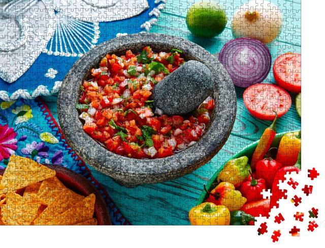 """Puzzle 1000 Teile """"Pico de Gallo-Sauce aus Mexiko mit Tomate, Koriander und Zwiebel"""""""