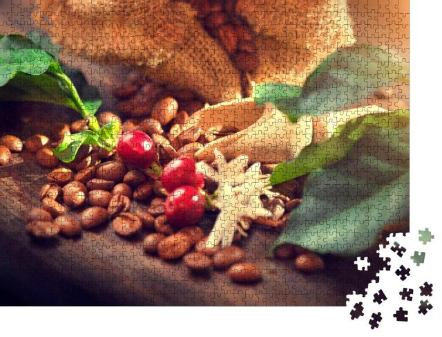 """Puzzle 1000 Teile """"Kaffeebohnen mit Beeren des Kaffeebaums"""""""