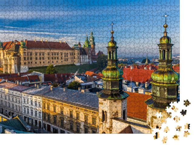 """Puzzle 1000 Teile """"Stadtzentrum von Krakau mit Blick auf Schloss Wawel, Polen"""""""