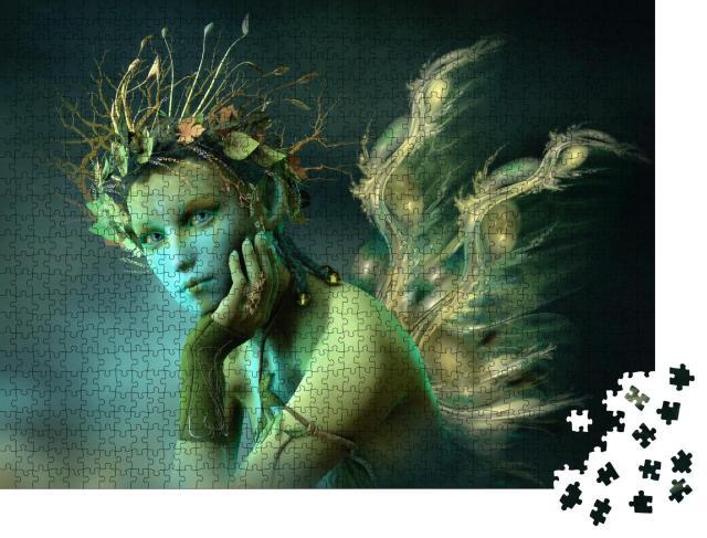"""Puzzle 1000 Teile """"Digitale Kunst: Waldfee mit Flügeln aus Licht"""""""