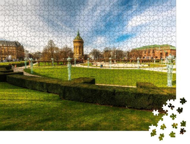 """Puzzle 1000 Teile """"Wasserturm mit Park in Mannheim"""""""