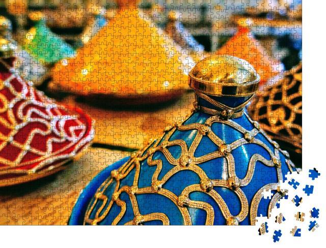 """Puzzle 1000 Teile """"Farbenprächtige Tajine-Töpfe, Marokko"""""""