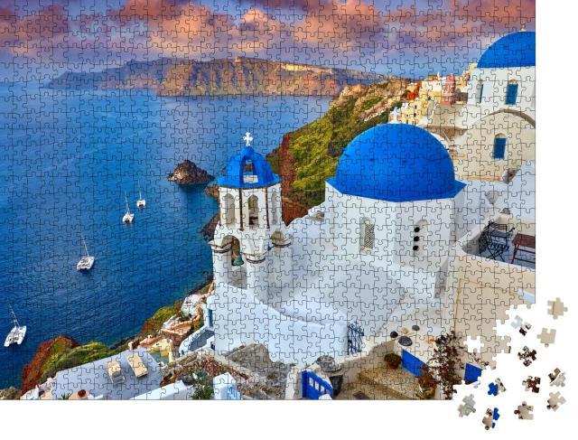 """Puzzle 1000 Teile """"Sonnenaufgang über Fira auf Santorini, Griechenland"""""""