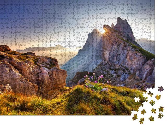 """Puzzle 1000 Teile """"Aussicht auf den Seceda-Gipfel am Morgen, Dolomiten, Südtirol"""""""