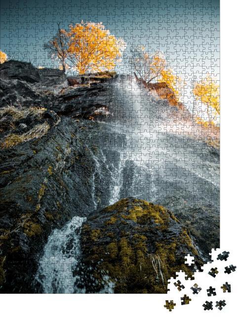 """Puzzle 1000 Teile """"Wunderschöner Wasserfall in den Harzer Bergen, Deutschland"""""""
