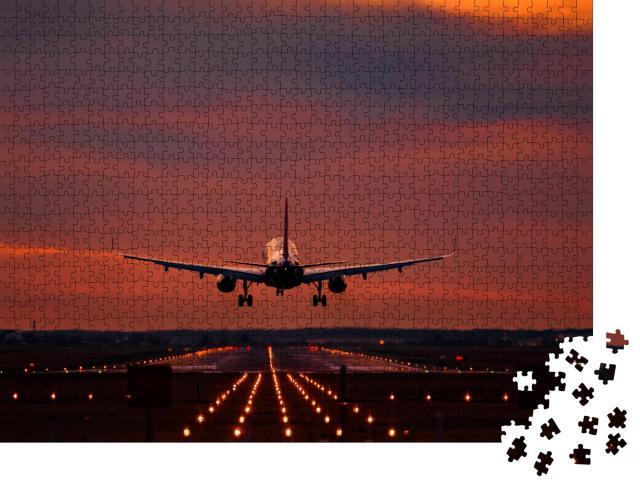 """Puzzle 1000 Teile """"Landeanflug im Sonnenuntergang auf dem Flughafen Otopeni"""""""