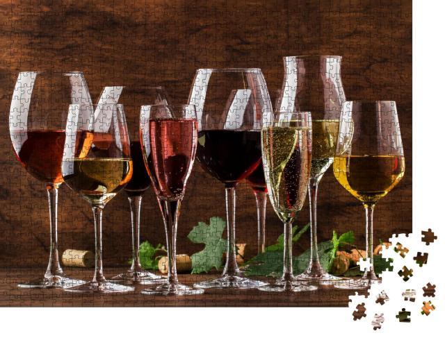 """Puzzle 1000 Teile """"Weinverkostung, stille Weine und Schaumweine, Rotwein, Weißwein, Rosé und Champagner"""""""