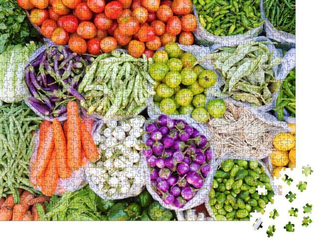 """Puzzle 1000 Teile """"Bauernmarkt mit frischen Früchten und Gemüse"""""""