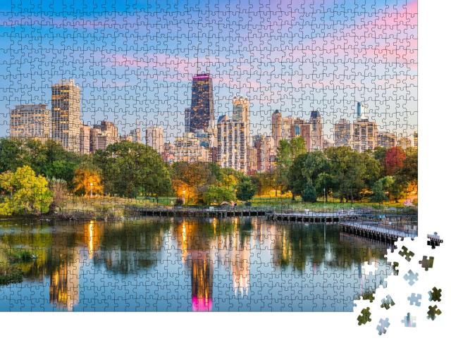 """Puzzle 1000 Teile """"Skyline von Chicago vom Lincoln Park aus, USA"""""""