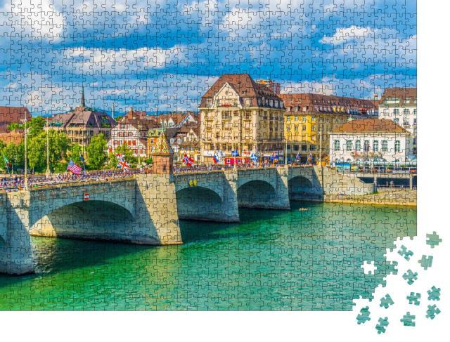"""Puzzle 1000 Teile """"Flussufer des Rheins in Basel, Schweiz"""""""