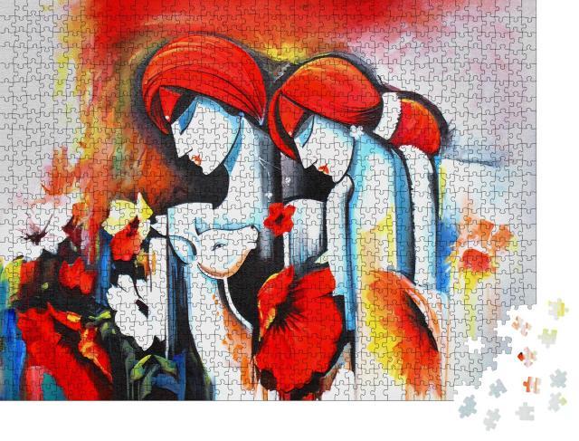 """Puzzle 1000 Teile """"Ölgemälde: Lord Radha Krishna mit Flöte"""""""