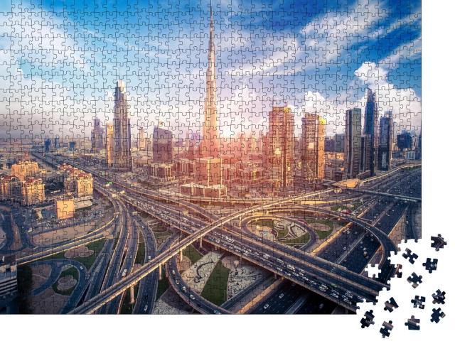 """Puzzle 1000 Teile """"Skyline von Dubai mit der schönen Stadt"""""""