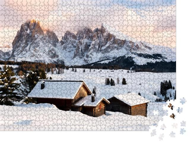"""Puzzle 1000 Teile """"Alpe di Suisi im Winter"""""""