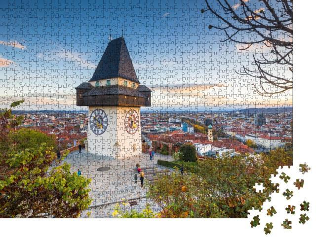 """Puzzle 1000 Teile """"Klassisches Panorama: Graz mit Uhrenturm bei Sonnenuntergang, Steiermark"""""""