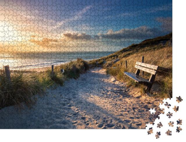 """Puzzle 1000 Teile """"Abendsonne auf dem Weg zum Meeresstrand, Holland"""""""