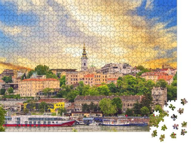 """Puzzle 1000 Teile """"Schöner Blick auf das historische Zentrum von Belgrad am Ufer der Sava, Serbien"""""""