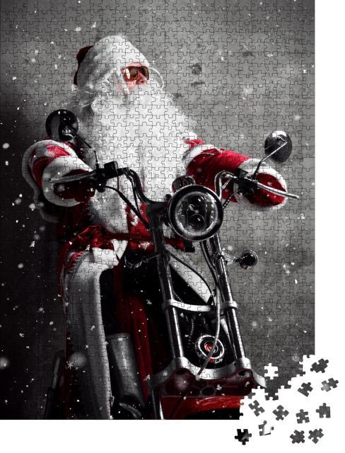 """Puzzle 1000 Teile """"Weihnachtsmann auf dem Motorrad"""""""