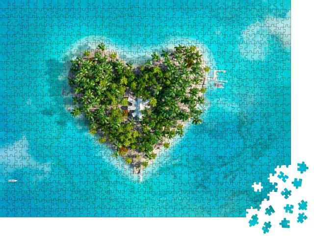 """Puzzle 1000 Teile """"Digitale Kunst: Tropisches Inselparadies in Form eines Herzens"""""""