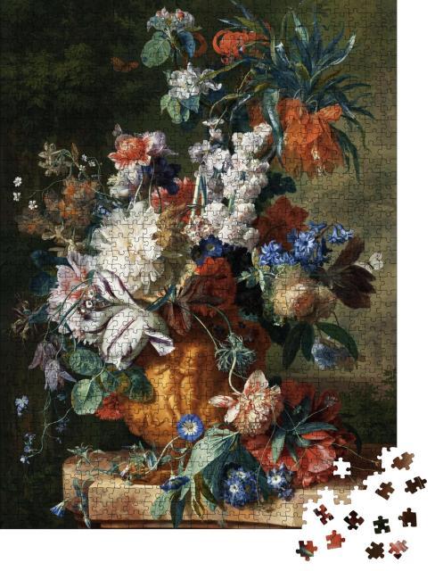 """Puzzle 1000 Teile """"Stillleben, Tulpen und Rosen, Gemälde, Öl auf Leinwand 2019"""""""