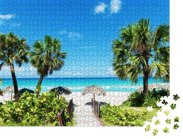 """Puzzle 1000 Teile """"Karibischer weißer Sandstrand"""""""