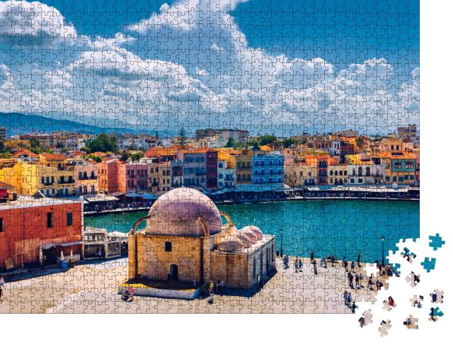 """Puzzle 1000 Teile """"Moschee im alten venezianischen Hafen der Stadt Chania, Kreta"""""""