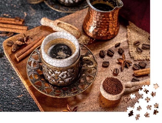 """Puzzle 1000 Teile """"Türkisch zubereiteter Kaffee mit Gewürzen und Kaffeebohnen"""""""