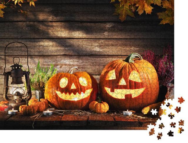 """Puzzle 1000 Teile """"Amerikanische Jack-o-Lantern: Halloween-Kürbisse"""""""