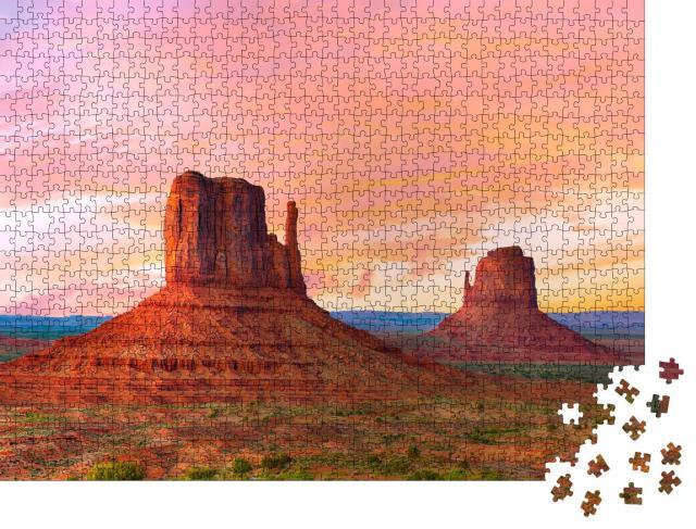 """Puzzle 1000 Teile """"Schöner Sonnenuntergang, Monument Valley, Utah, USA"""""""