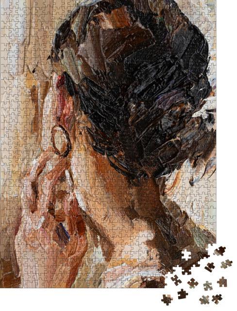"""Puzzle 1000 Teile """"Ölgemälde: Junge Frau mit Ohrring"""""""