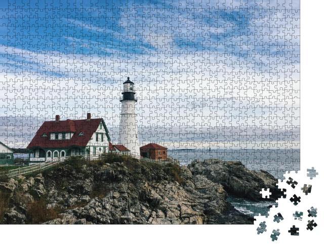 """Puzzle 1000 Teile """"Leuchtturm von Portland Headlight, Port Elizabeth, Maine"""""""