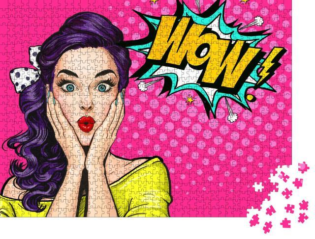 """Puzzle 1000 Teile """"Pop Art: Frau mit WOW-Gesicht"""""""