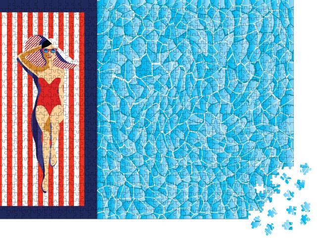 """Puzzle 1000 Teile """"Illustration: schöne junge Frau am Pool mit Sonnenbrille, Hut, Badeanzug"""""""