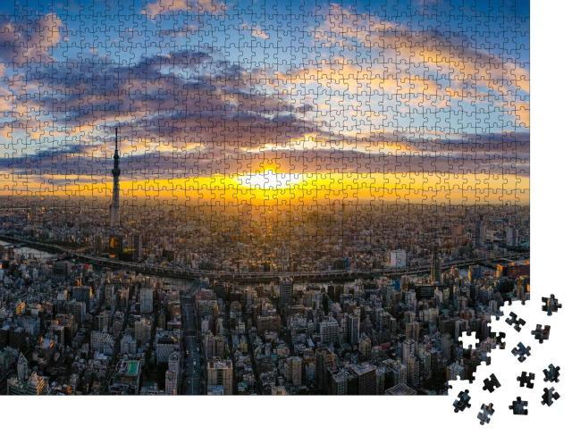 """Puzzle 1000 Teile """"Tokio im Licht der aufgehenden Sonne"""""""