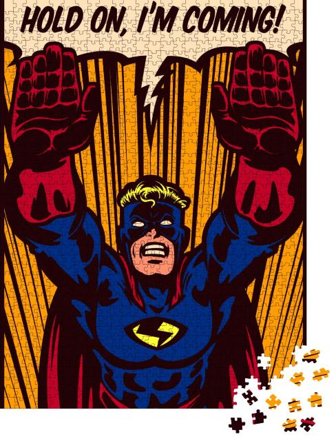 """Puzzle 1000 Teile """"Pop-Art-Comic-Stil: Superheld fliegt für Rettung"""""""