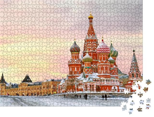 """Puzzle 1000 Teile """"Moskau im Winter: Roter Platz mit Blick auf die Basilius-Kathedrale"""""""