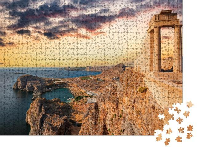 """Puzzle 1000 Teile """"Weißgetünchtes Dorf Lindos auf Rhodes, Griechenland"""""""