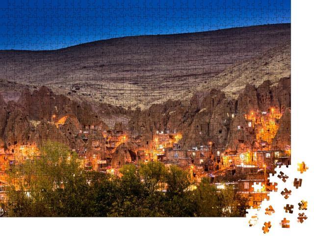 """Puzzle 1000 Teile """"Dorf Kandovan in der Dämmerung, Ost-Azarbaijan, Iran"""""""