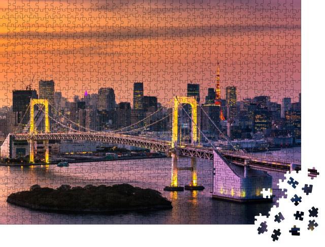 """Puzzle 1000 Teile """"Bucht von Tokio mit Regenbogenbrücke und Tokyo Tower"""""""