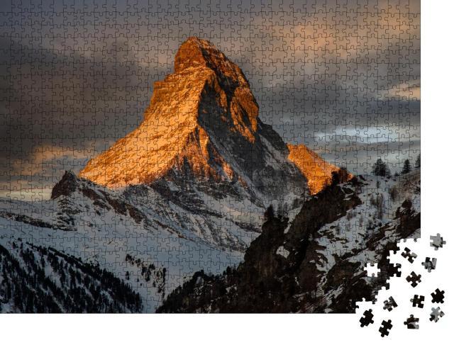 """Puzzle 1000 Teile """"Sonnenuntergang am Matterhorn, , Zermatt, Schweiz"""""""