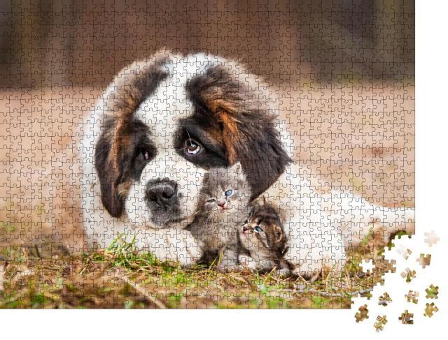 """Puzzle 1000 Teile """"Beste Freunde: Bernhardinerwelpe mit kleinen Kätzchen"""""""