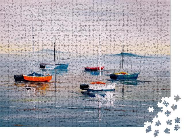 """Puzzle 1000 Teile """"Ölgemälde: Segelboote auf einem ruhigen See"""""""