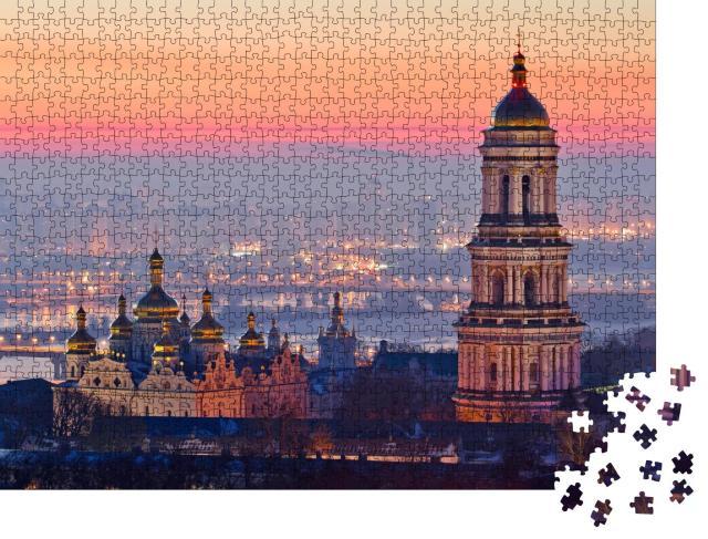 """Puzzle 1000 Teile """"Sonnenaufgang an der Kiew-Pechersk Lawra, Ukraine """""""