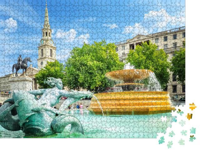 """Puzzle 1000 Teile """"Springbrunnen auf dem Trafalgar Square an einem hellen Sommertag"""""""