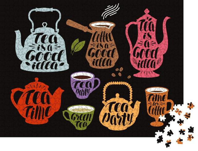 """Puzzle 1000 Teile """"Kalligraphie Vektor-Illustration: Tee und Kaffee"""""""