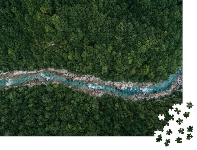 """Puzzle 1000 Teile """"Vogelperspektive: Ein Fluss im Wald"""""""