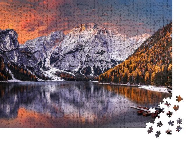 """Puzzle 1000 Teile """"Morgenszene am Pragser Wildsee, Dolomiten, Italien"""""""