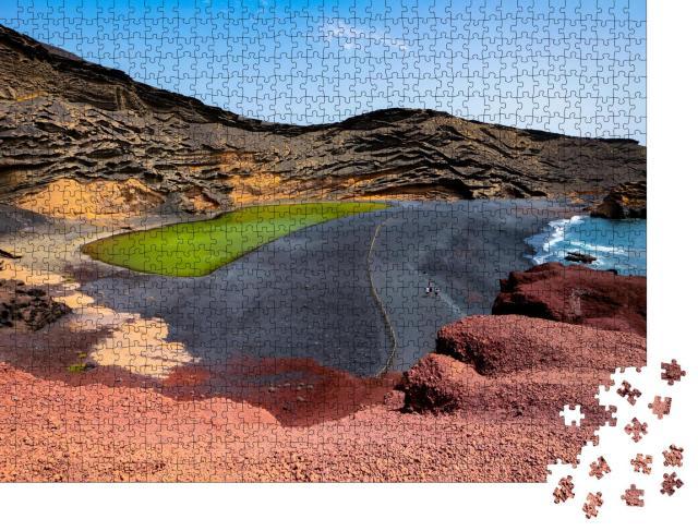 """Puzzle 1000 Teile """"Grüner See Charco de Los Clicos in El Golfo, Lanzarote"""""""